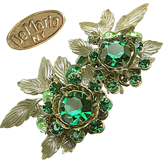 Vintage Large DeMARIO EARRINGS w/ Green Rhinestones 'n Antique Silver Gilt c.1950's