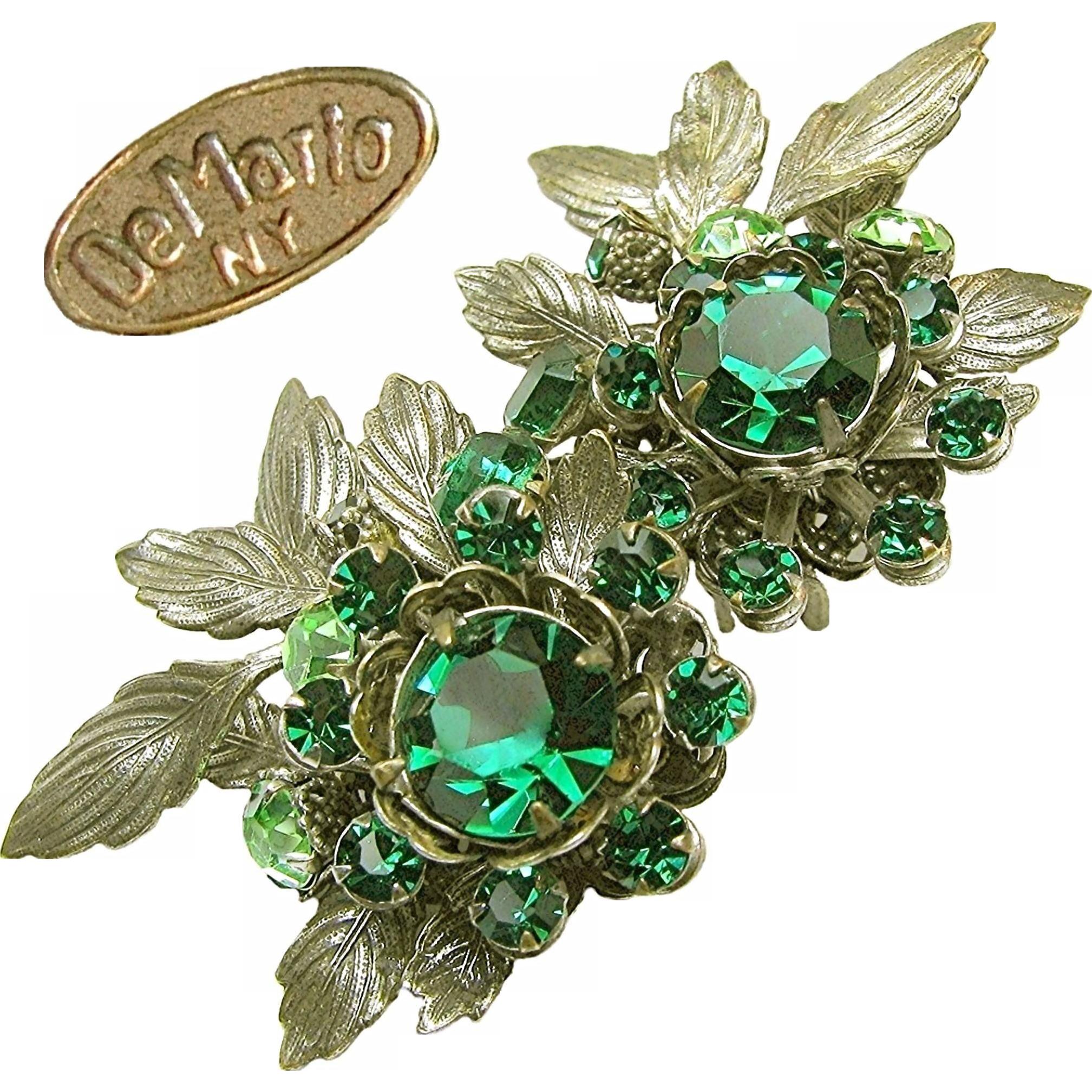 Vintage DeMARIO Large EARRINGS w/ Green Rhinestones 'n Antique Silver Gilt c.1950's