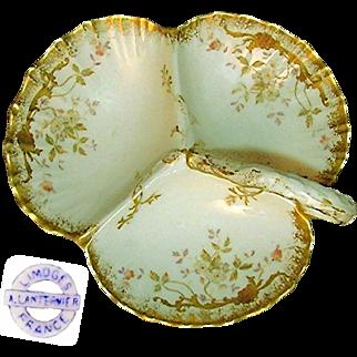Art Nouveau LIMOGES Gilded Ornate Handpainted Divided SERVER by A. Lanternier c.1900
