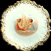 Art Nouveau LIMOGES CHERUB Gilded Cabinet Plate-Coiffe Mold c.1900