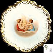 LIMOGES CHERUB Art Nouveau Gilded Cabinet Plate-Coiffe Mold c.1900