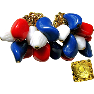 Vintage MIRIAM HASKELL Mid-Century Earrings w/ Multiple Patriotic Art Glass Drops