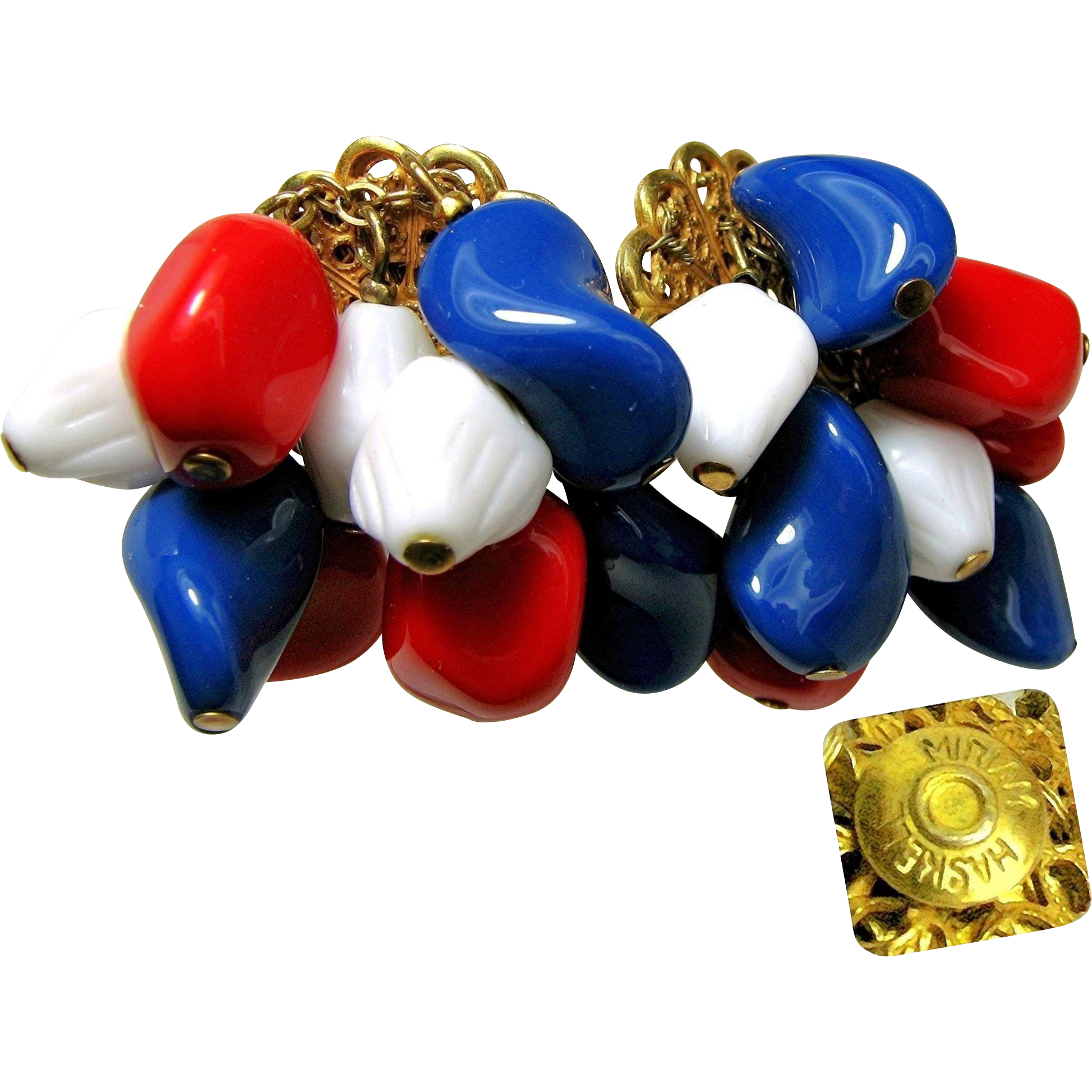 Vintage MIRIAM HASKELL Patriotic Earrings Multiple Art Glass Drop Shapes