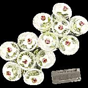 Vintage MIRIAM HASKELL Earrings of Glass Flowers w/ Pink Rhinestones