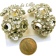 Vintage Dazzling DeLillo Earrings - Rhinestone Hoops