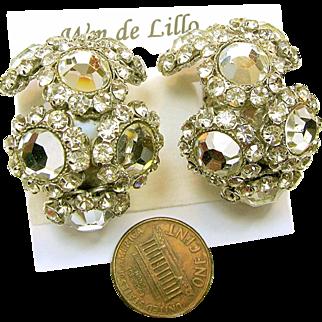 Vintage Dazzling DeLillo Earrings - Rhinestone Hoops