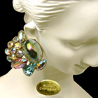 Vintage Alice Caviness Earrings Watermelon Stones 'n AB Rhinestones c.1950s
