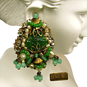 "Vintage EUGENE Over the TOP ""Empress Eugénie"" Style Earrings c.1950"