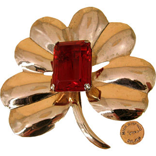 1940's Large CORO Mexico Silver Flower Brooch w/ Stepped Red Glass Stone by HECTOR AGUILAR