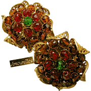 Vintage Amourelle Frank Hess Earrings Cranberry 'n Amber Elements w/ Floral Gilt Filigree