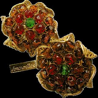 Vintage Amourelle Frank Hess Earrings Cranberry 'n Amber Elements w/ Floral Gilt Filigree