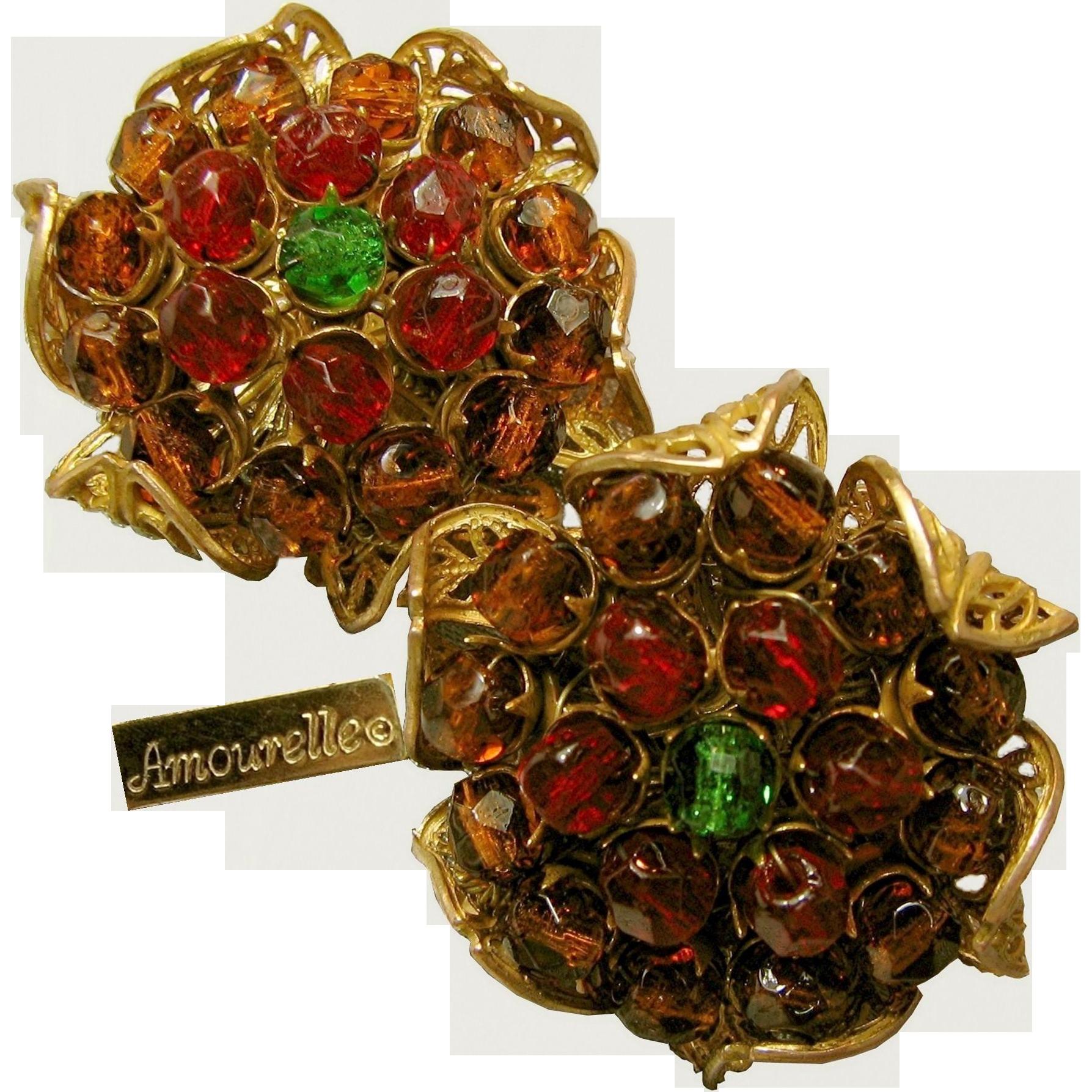 Vintage Amourelle-Hess Cranberry 'n Amber Gilt Earrings