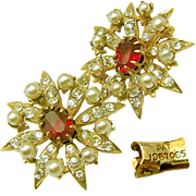 Vintage Victorian Revival Ruby Paste Stone Earrings w/ Rhinestones Pat.1967965 c.1930's