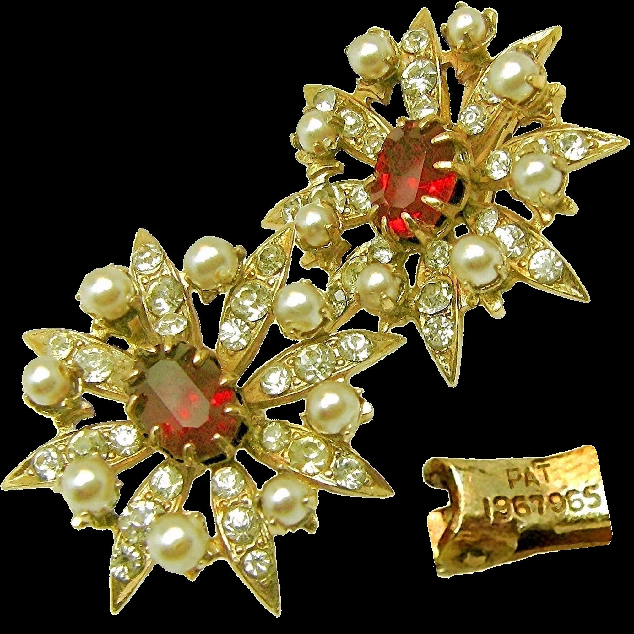 Vintage Victorian Revival Ruby Paste Stone Earrings w/ Rhinestones Pat.1967965 c.1930's