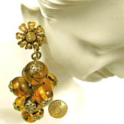 Vintage MIRIAM HASKELL Pendant Drop EARRINGS Hand Blown Swirling Glass
