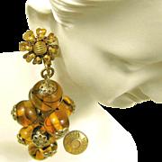 Vintage MIRIAM HASKELL Pendant Drop EARRINGS Hand Blown Swirling Glass