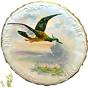 Limoges Art Nouveau Hand-painted Game Bird Plate c.1896 Artist Signed René