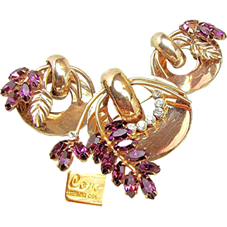 Vintage CORO STERLING CRAFT Gold over Sterling Purple Rhinestone Set c.1942