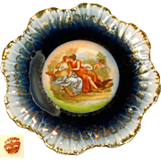 Art Nouveau Austrian CHERUB & Hunters Cabinet Plate w/ Gilded COBALT Border