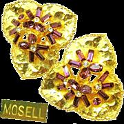 Vintage Dimensional MOSELL Floral Earrings w/ Amethyst Rhinestones c.1950's