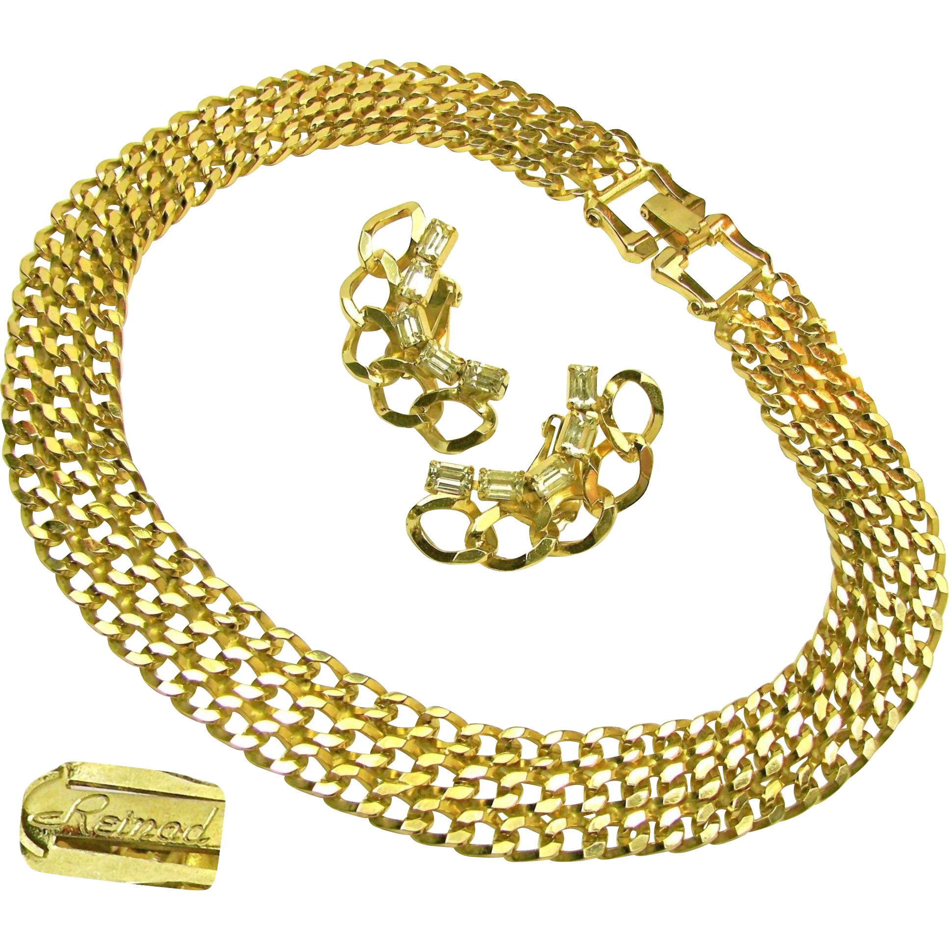 Vintage REINAD Curb Chain Necklace 'n Rhinestone Climber Earrings c.1950's