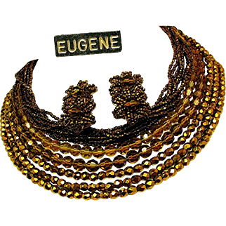 Vintage EUGENE Bib Necklace 'n Earrings Mid-Century All Glass Set
