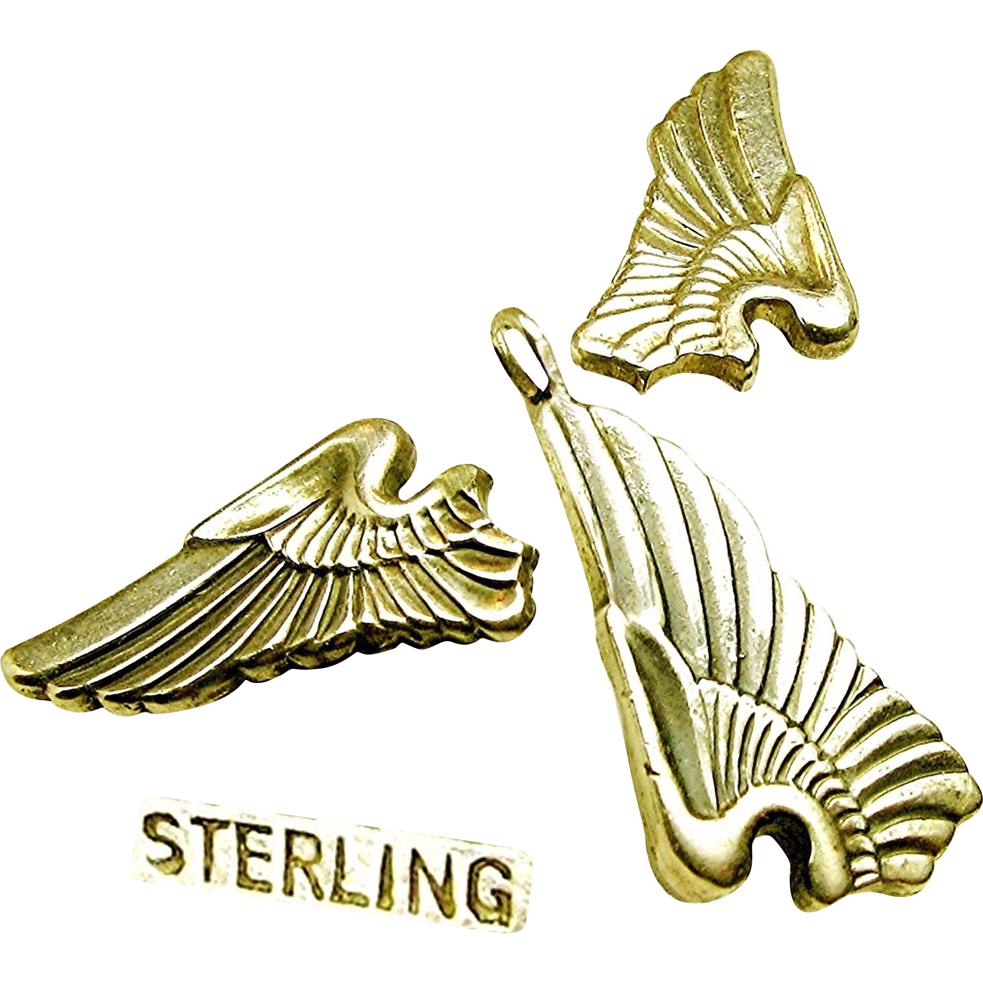 WWII SWEETHEART Sterling Earrings, Pendant 'n Chain Army Air Corp Pilot Wings c.1940's