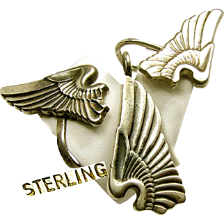 WWII SWEETHEART Sterling Set, Army Air Corp Pilot Wings c.1940's