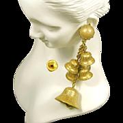 Vintage JINGLE BELL HASKELL 3.5 Inch Long Earrings-Multiple Pendants