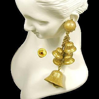 Vintage JINGLE BELL HASKELL 3.5 In. Long Earrings-Multiple Pendants