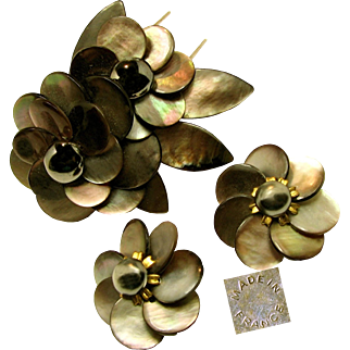 Vintage French Floral Pin Clip Set c.1940's, Rare Sable Abalone