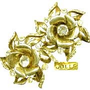 Vintage Hess-Appel's Jollé Gold Over Sterling ROSE Blossom Earrings c.1940's