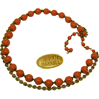 Vintage MIRIAM HASKELL's Necklace Glass Coral 'n Fancy Russian Gilt Chain, Dual Strands