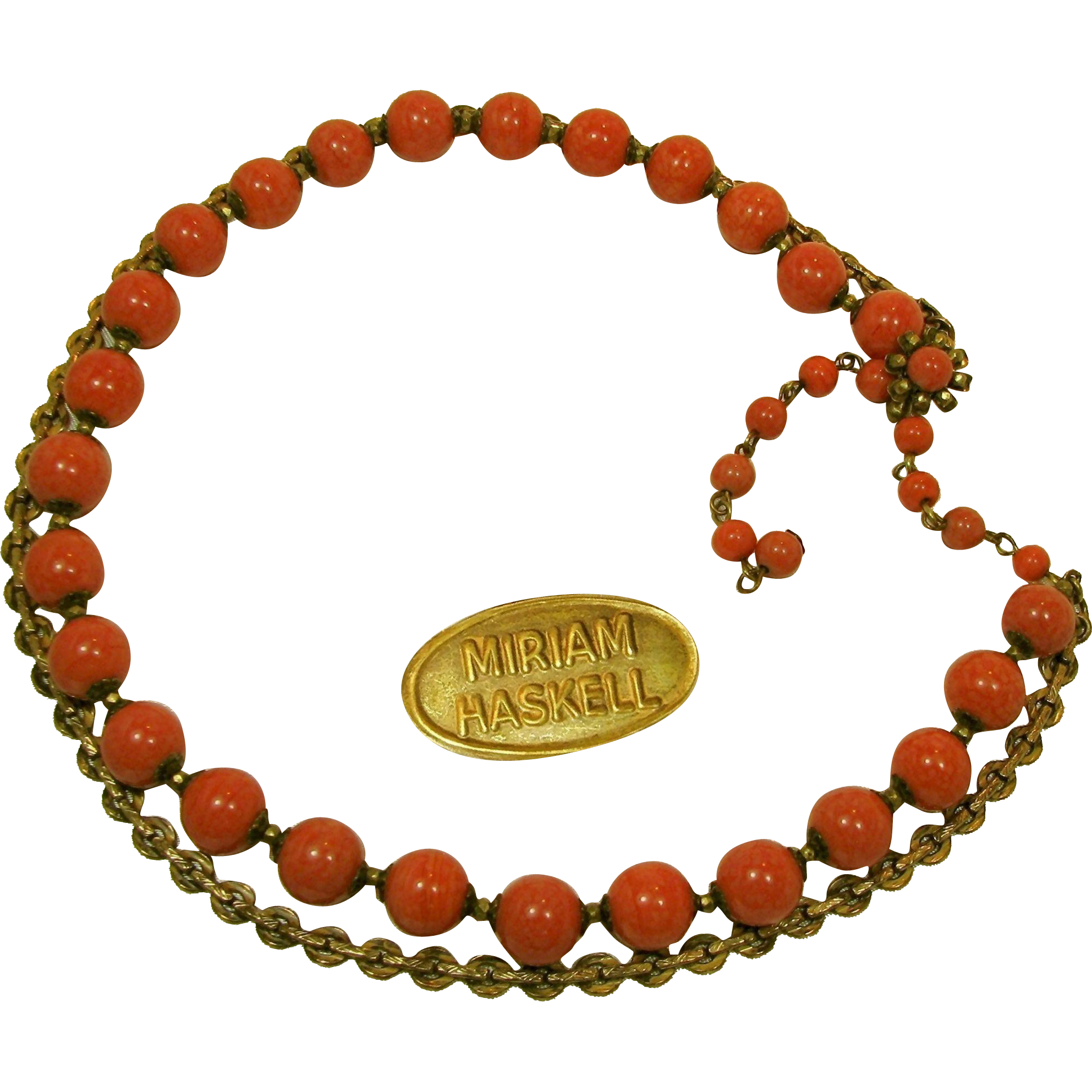 Vintage MIRIAM HASKELL Glass Coral Necklace 'n Fancy Russian Gilt Chain, Dual Strands