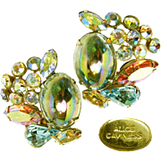 Vintage Alice Caviness Earrings of Watermelon Stones 'n AB Rhinestones c.1950s