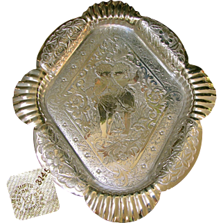 Art Nouveau James W. Tufts Ornate Cherub Floral Footed Tray