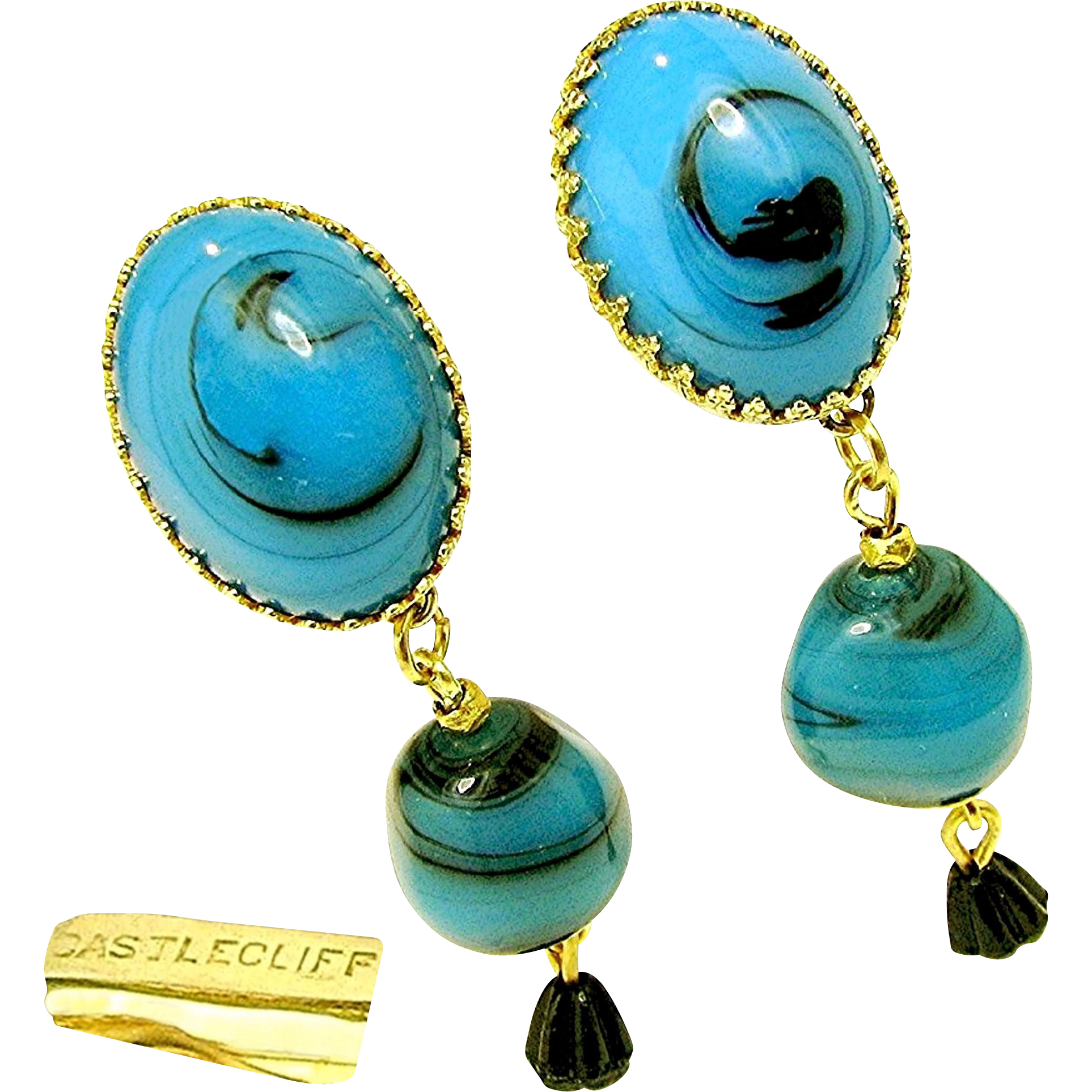 Vintage CASTLECLIFF Blue Art Glass Dangle Earrings w/ Black Drops