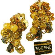 Vintage EUGENE Swirling Honey Art Glass Earrings w/ Rhinestones 'n Layers of Russian Gilt Filigree