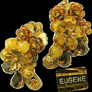 Vintage EUGENE Swirling Honey Art Glass Earrings w/ Rhinestones 'n Layers of Russian Gilt Filigree