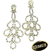 Vintage KRAMER Shoulder Duster Rhinestone Earrings 1940's Hollywood DIVA!
