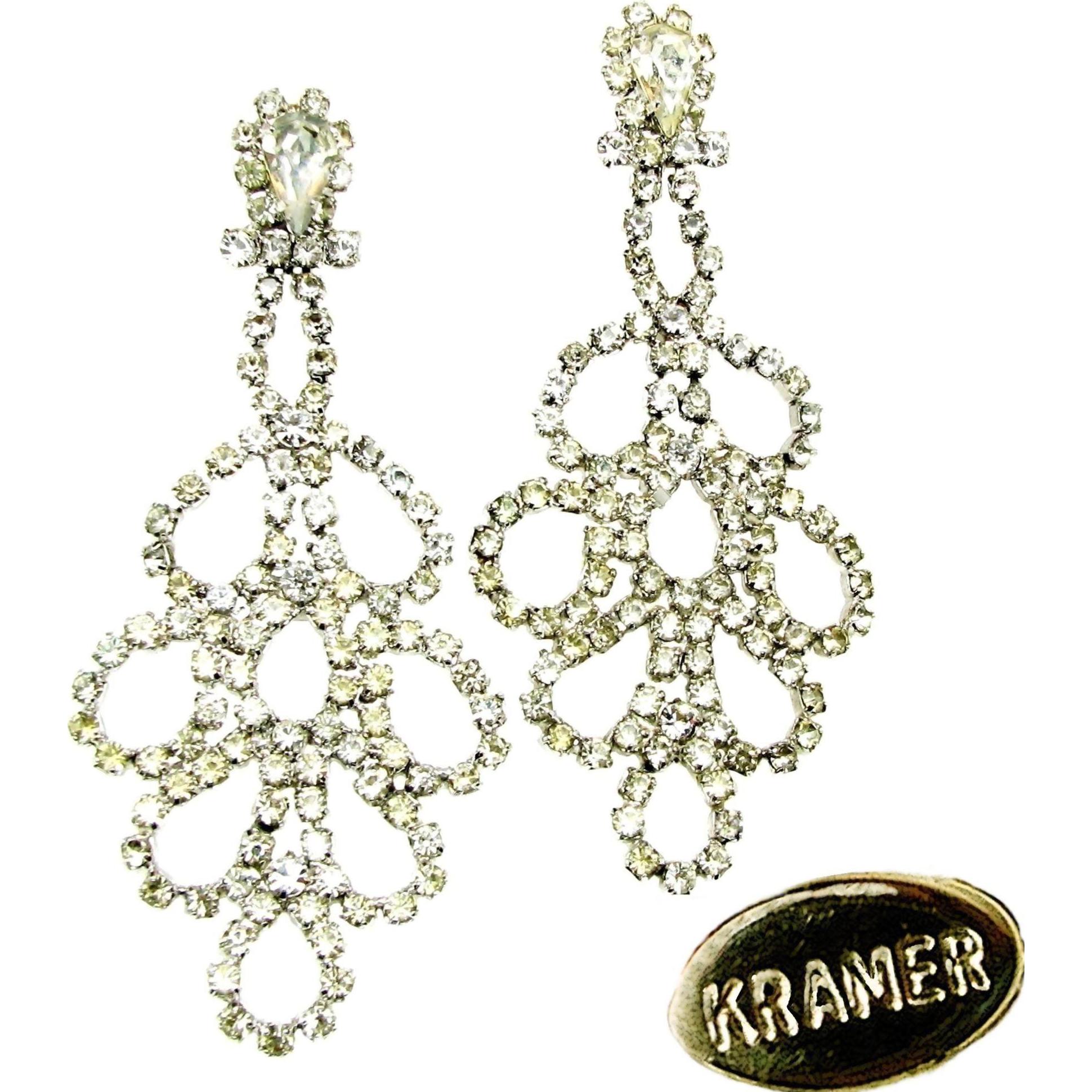 Vintage KRAMER Shoulder Duster Rhinestone Earrings 1940's Hollywood DIVA!