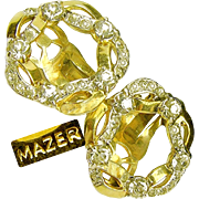Vintage MAZER Ribbon Wreath Earrings w/ 'Diamond' Like Rhinestones c.1950's