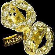 Vintage MAZER Ribbon Wreath Earrings w/ 'Diamond' Like Rhinestones c.1950's