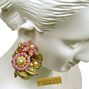 Iconic Miriam Haskell Mini Floral Corsage Style Earrings