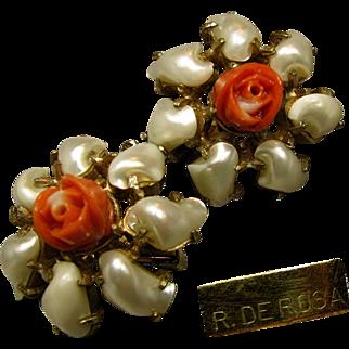 Mid-Century De Rosa Floral Earrings Pearlescent Petals w/ Faux Coral Centers