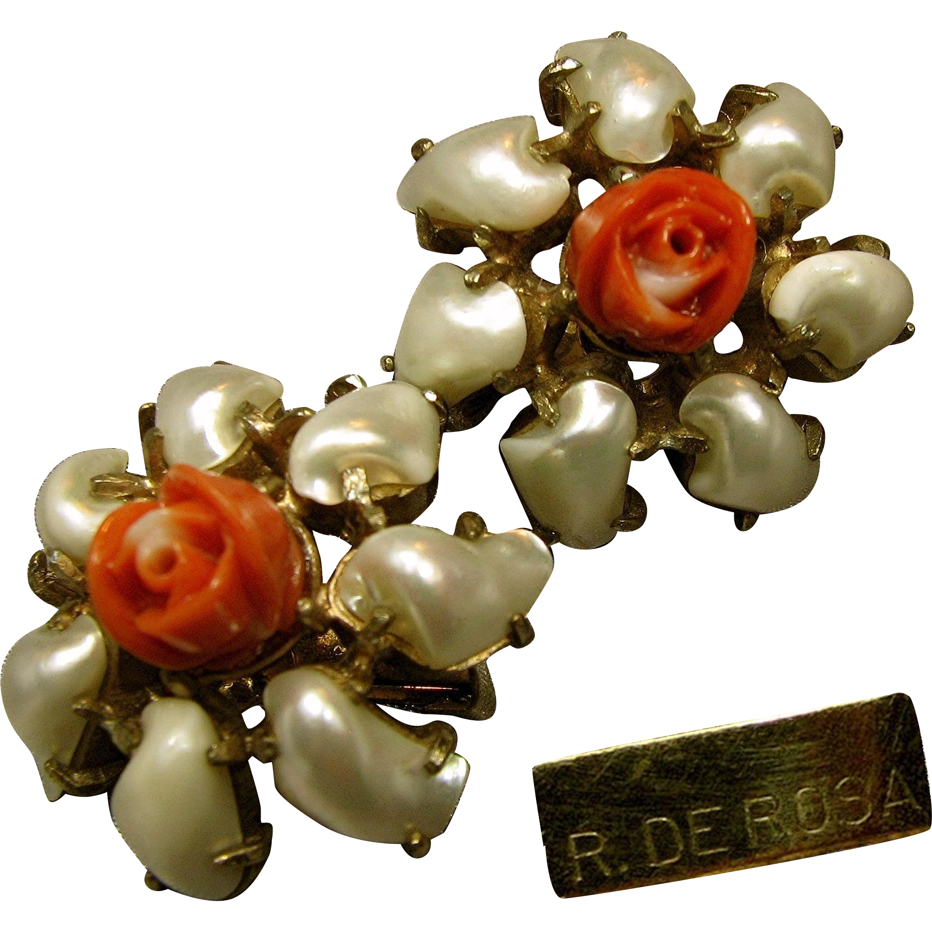 Vintage De Rosa Floral Earrings Pearlescent Petals w/ Faux Coral Centers