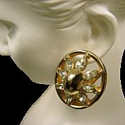 Vintage REJA EARRINGS Glossy Gold Plated 'n Sparking Rhinestones c.1940's