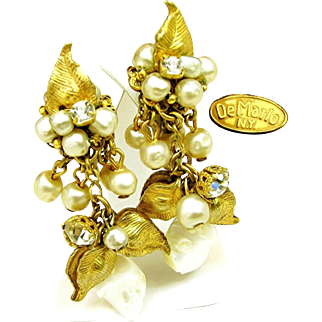 Vintage DeMARIO Floral Earrings Multiple Glass Pearl w/ M.O.P. Pendents