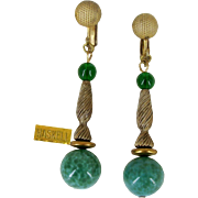 Vintage MIRIAM HASKELL Pendant Earrings Speckled Green Art Glass 'n Filigree