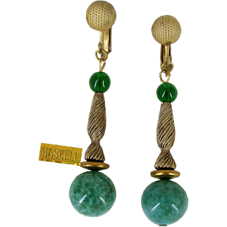 Vintage MIRIAM HASKELL Pendant Earrings w/ Speckled Green Art Glass